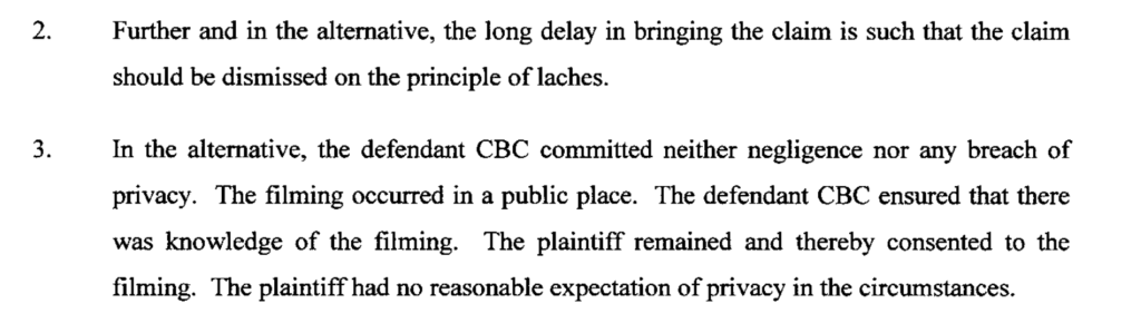 Excerpt from CBC's response to Dadashzadeh's lawsuit.