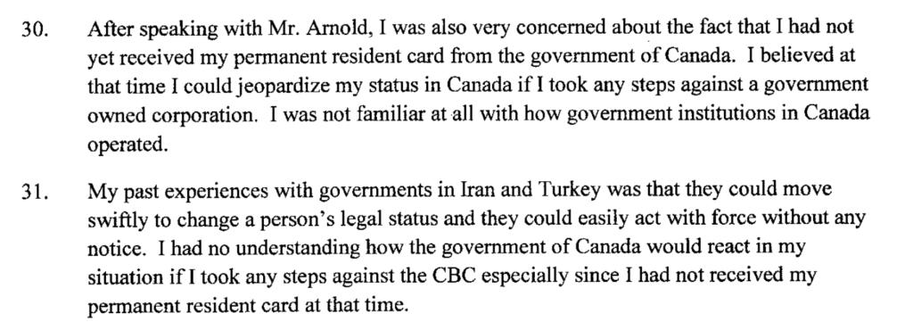Excerpt from Dadashzadeh's affidavit.