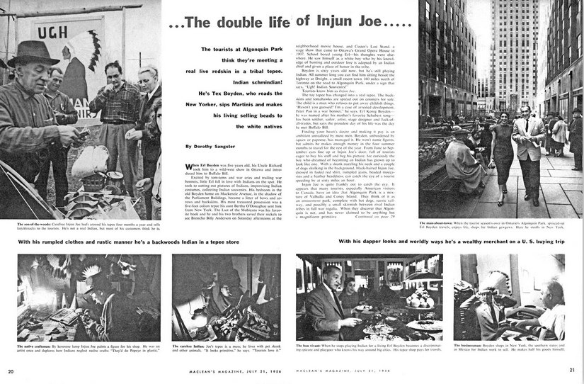 The Double Life of Injun Joe, a Maclean's article published in 1956.