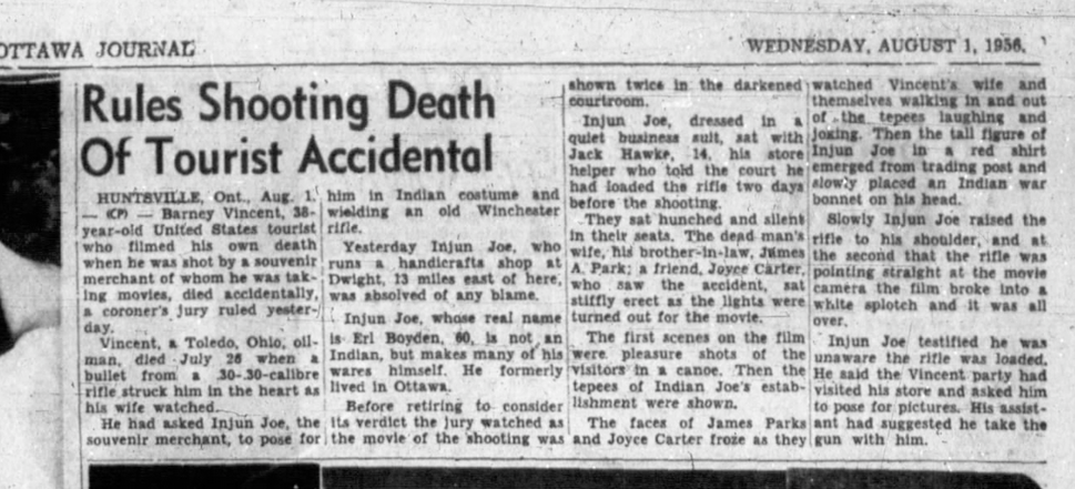 A 1956 Ottawa Journal article on the shooting death of a tourist.