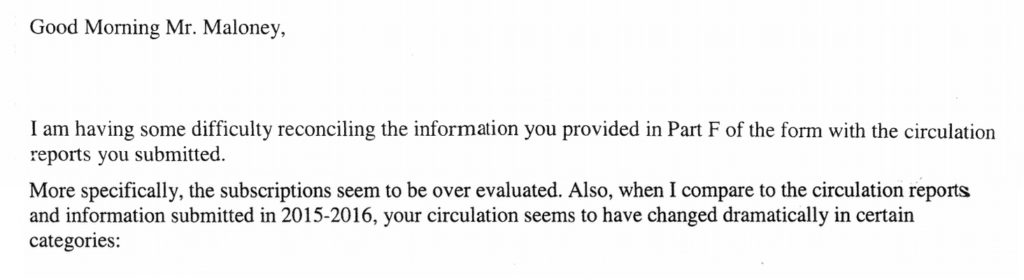 Screenshot of an email to The Walrus from the federal Heritage department, regarding the magazine's circulation numbers.