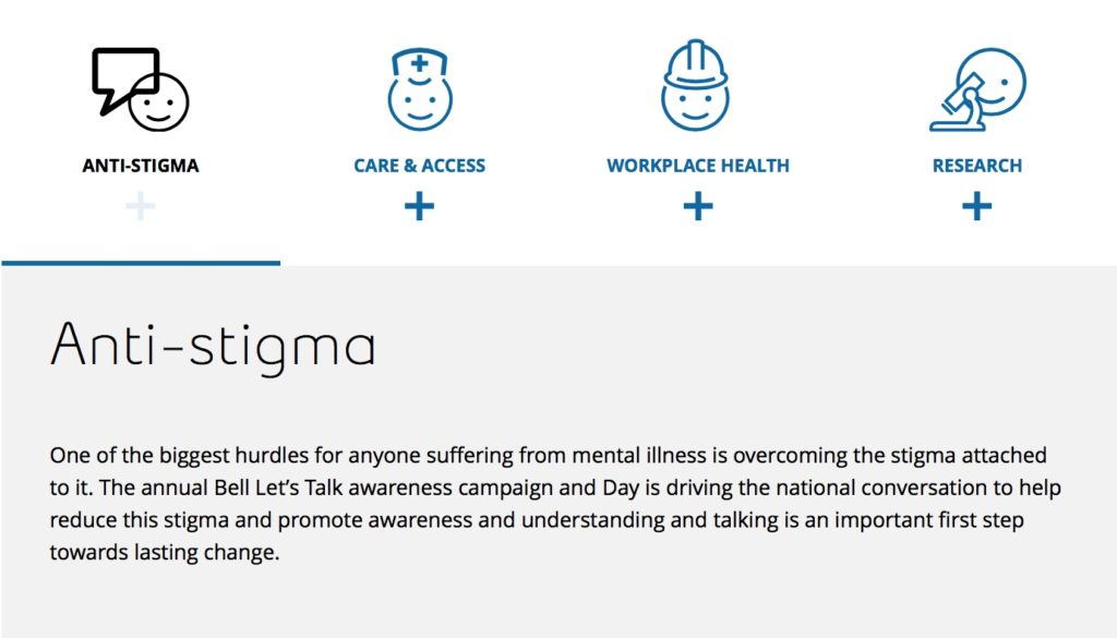 """The first of the """"4 Pillars"""" for Bell Let's Talk Day. Screenshot/Bell"""
