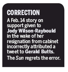 "A black box with rounded corners at the top. Inside is white text: ""CORRECTION: A Feb. 14 story on support given to Jody Wilson-Raybould in the wake of her resignation from cabinet incorrectly attributed a tweet to Gerald Butts. The Sun regrets the error."""