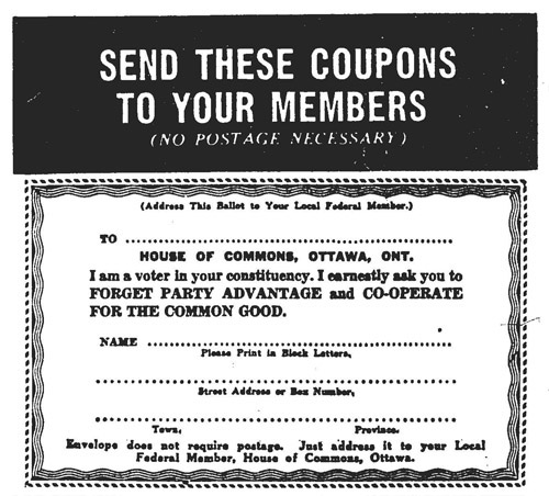 "Text saying ""SEND THESE COUPONS TO YOUR MEMBERS (No Postage Necessary)"" and then a form as described above."