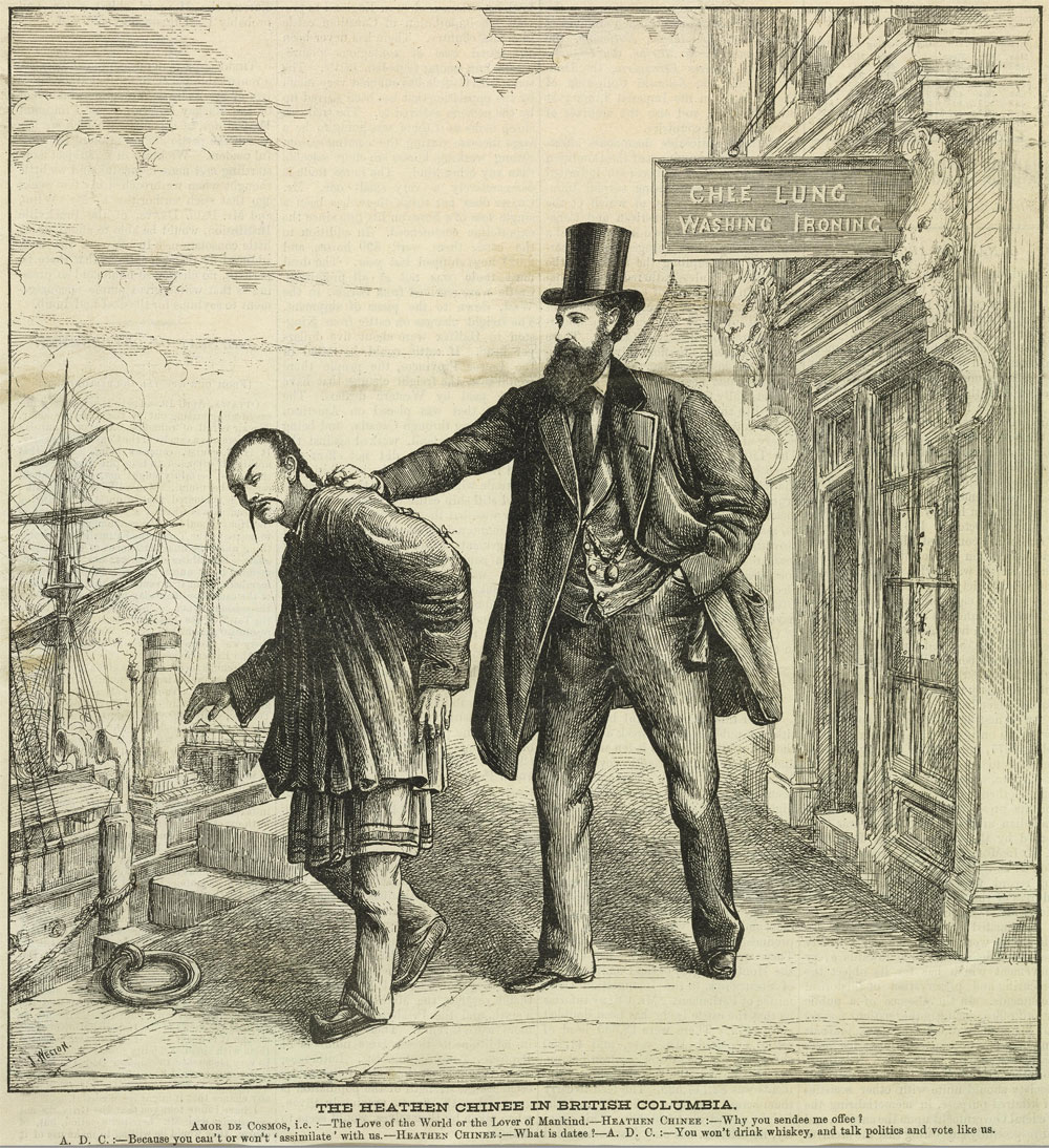 A cartoon of a tall white man in a fancy coat and stovepipe hat with his hand on the back of a stereotypically-depicted Chinese man.