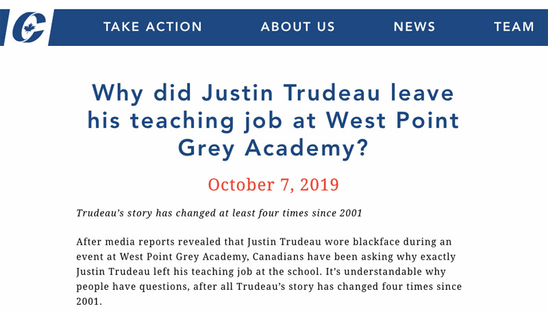 "Screenshot from Conservative Party website showing the top of their October 7, 2019, news release headlined: ""Why did Justin Trudeau leave his teaching job at West Point Grey Academy?"""