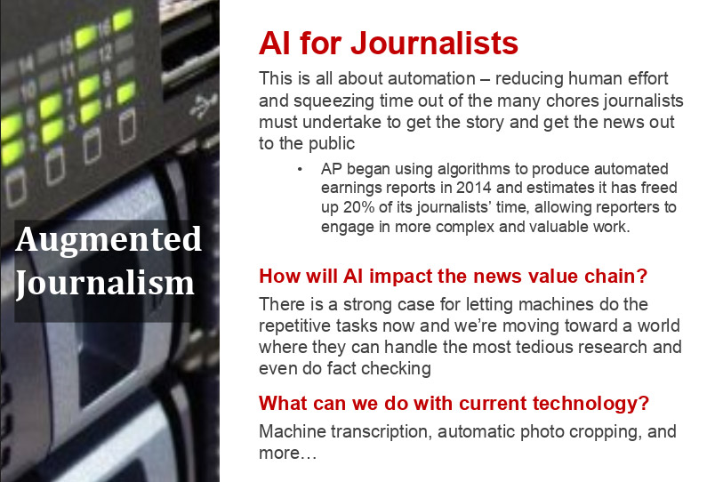 "A page headlined ""AI for Journalists"" and ""Augmented Journalism,"" describing how AI could benefit the process of reporting."