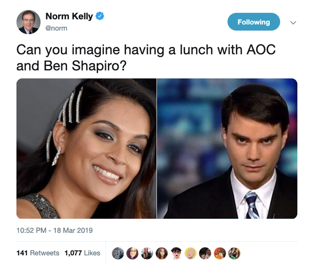 "A tweet from Norm Kelly (@norm) asking, ""Can you imagine having a lunch with AOC and Ben Shapiro?"" He accompanies it with photos of Lilly Singh (not AOC) and Shapiro."