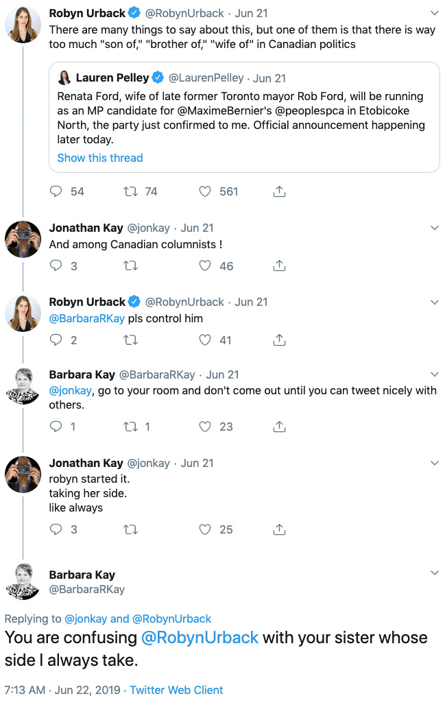 An exchange between Robyn Urback, Jonathan Kay, and Barbara Kay that starts with Urback complaining about nepotism in Canadian politics and devolves into some weird thing with the two Kays bickering, or at least pretending to bicker, about family stuff.