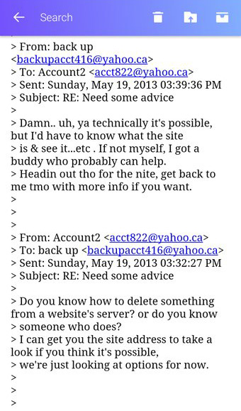 A screenshot from an email app showing messages in an email thread between backupacct416@yahoo.ca and acct822@yahoo.ca, dated May 19, 2013. The exchange shows the purported request from Amin Massoudi about deleting files from a server, as well as the supposed hacker's response.
