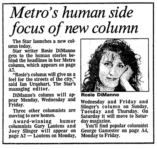 "A short newspaper article headlined ""Metro's human side focus of new column,"" with a black-and-white headshot of Rosie DiManno."