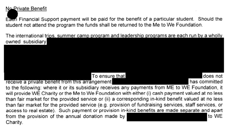 "Under the heading ""No Private Benefit"" is a heavily blacked-out paragraph that begins ""The international trips summer camp program and leadership programs are each run by a wholly owned subsidiary"" and then lots of redactions, e.g., ""To ensure that [redacted] does not receive a private benefit from this arrangement [redacted] has committed to the following…"""