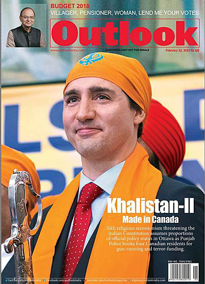 """A cover of the magazine Outlook, showing Justin Trudeau wearing a bright orange Sikh head covering. The headline reads """"Khalistan-II: Made in Canada"""""""