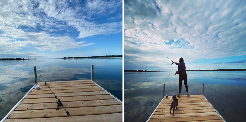 Two side-by-side photos seemingly depicting the same dock jutting out over a lake in what looks like cottage country. In one, a fishing rod is resting on the dock. In the other, a woman is casting with it.