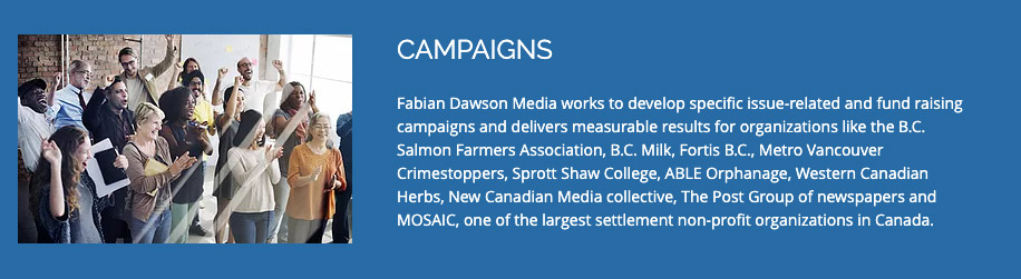 Excerpt from Fabian Dawson Media website, with a stock photo of people in an office cheering and the headline CAMPAIGNS. The paragraph begins: Fabian Dawson Media works to develop specific issue-related and fund raising campaigns and delivers measurable results for organizations like the B.C. Salmon Farmers Association…